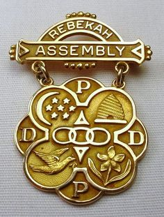 IOOF Daughters of Rebekah 10K Gold Rebekah Assembly Pin Badge Beehive Dove Stars | eBay