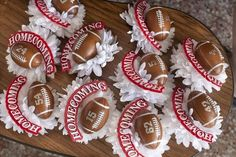 Pinner wrote: The finished garters for the Ray football players will be topped off by the traditional mum with a miniature football with the player's number. Football Mums, Football Banquet, Football Crafts, Football Cheer, High School Football, Football Season, Football Players, Basketball Mom, Texas Homecoming Mums