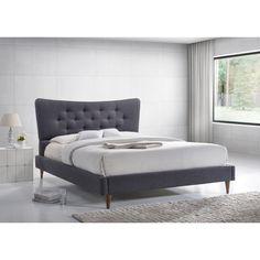 Baxton Studio Hermia Mid-century Modern Dark Grey Fabric Platform Bed