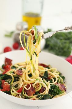 Spicy Bacon, Kale and Roasted Tomato Zucchini Pasta