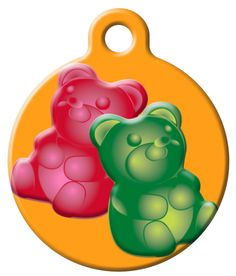 OH MY GOD, THIS IS NECESSARY FOR NEXT DOG  This pet collar tag matches any Lupine Collar or Leash featuring the Jelly Bears pattern.