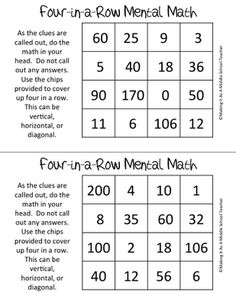 Making It As A Middle School Teacher: Math Game Monday ~ Four-in-a-Row Mental Math Game $