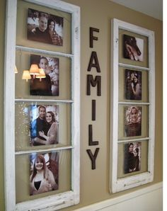 Recycle old window frames as picture frames!