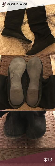 Steve Madden suede slouchy boot Black suede flat slouchy boot called Tianna. Worn Steve Madden Shoes