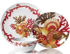 Aqua Coastal Dinnerware with Seashells   Stylish Sea Coral Dinnerware at Z Gallery.