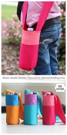 DIY Water Bottle Holder Free Sewing Patterns &Tutorials: sew fabric water bottle holder/cozy for Travel, kids school Sewing Patterns Free, Free Sewing, Purse Patterns, Sewing Hacks, Sewing Tutorials, Bag Tutorials, Water Bottle Holders, Water Bottle Carrier, Fabric Bags