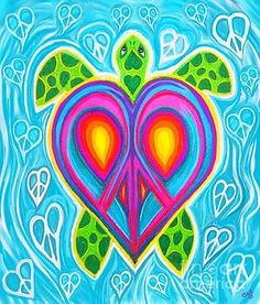Peace Heart Sea Turtle by Nick Gustafson Peace Sign Art, Peace Signs, Peace Sign Tattoos, Doodle Tattoo, Hippie Art, Painted Rocks, Pop Art, Christmas Crafts, Abstract Art