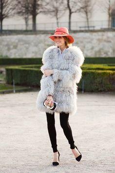 Shop this look on Lookastic:  http://lookastic.com/women/looks/pink-hat-grey-fur-coat-black-leggings-black-pumps/8102  — Pink Wool Hat  — Grey Fur Coat  — Black Leggings  — Black Suede Pumps
