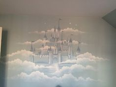 Disney Castle mural in the clouds by Leslie Michaels - Chicago, IL Hand painted Disney Castle in the clouds 2014 Children's Room Murals