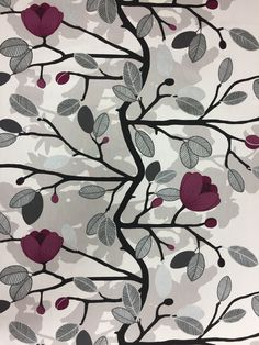 Fabric cotton Magnolia Blossom, elegant purple floral fabric, silver leaves, modern fabric Scandinavian design, by SanFabric on Etsy