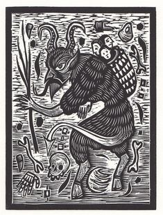 Original hand pulled woodblock relief print on off-white Lenox paper. Printed with black Gamblin relief ink. Krampus Movie, Germany Tattoo, Christmas Gift Decorations, Christmas Gifts, Holiday, Renaissance, Painting Tattoo, Body Painting, Japanese Tattoo Designs