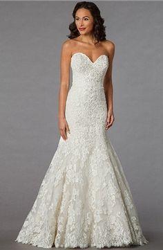 Danielle Caprese Mermaid Wedding Dress with Sweetheart Neckline and Dropped Waist Waistline