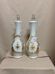 Greystone Fine Furniture - french tall white porcelain lamp with gold embellishments