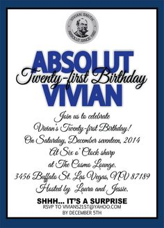 Absolut Vodka Invites 21st Birthday On Etsy 3000 Invitations 50th
