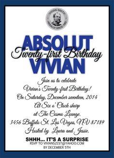 21st Birthday Invitation by CarocaroStudio on Etsy, $15.00 ...