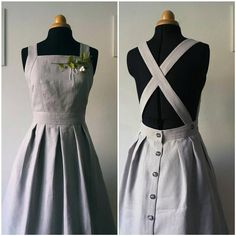 Informations About Light Grey linen apron dress, pinafore dress, vintage style dress, knee length, m Vintage Style Dresses, Vintage Outfits, Dress Vintage, Vintage Inspired Dresses, Vintage Clothing, Vintage Hats, Inspired Outfits, Vintage Sewing, Pretty Outfits