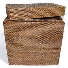Rattan Large Rectangular Lidded Storage Basket