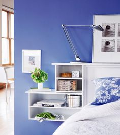 Small bedroom? Add storage to the headboard