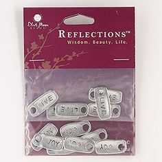 """Drop, Blue Moon Beads®, antiqued silver-finished """"pewter"""" (zinc-based alloy), 20x9mm-21x9mm rounded rectangle with (6) """"LIVE"""" and (7) """"JOY."""" Sold per pkg of 13 drops."""
