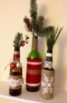 Upcycled Wine Bottle Centerpieces by BottlesByBirdie, $30.00 for set of 3
