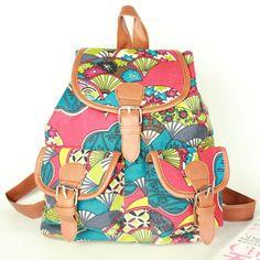 stacy bag hot sale women printing backpack girl vintage pocket color block floral print canvas travel backpack lady travel bag $9.00