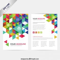 Brochure with colorful triangles Free Vector