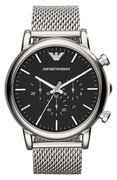 Emporio Armani Chronograph Mesh Strap Watch, 46mm available at #Nordstrom