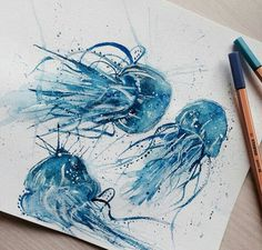 Painting Prints, Watercolor Paintings, Art Prints, Traditional Japanese Art, Alcohol Ink Art, Mermaid Art, Moon Art, Heart Art, Underwater