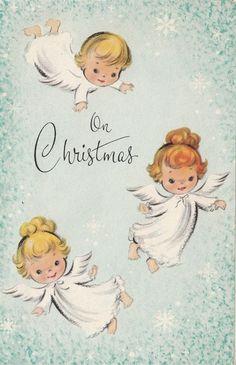 Vintage Greeting Card Christmas Angels i091