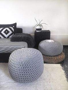 "Large Pouf Ottoman Cool Large Stuffed Crochet Pouf Ottoman Nursery Footstool 24"" Floor Decorating Inspiration"