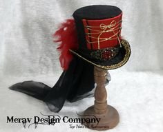Ring Master Hat Red Black Mini Top Hat by MeraVDesignCompany