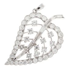 For Sale on - Handmade Platinum leaf pendant with scalloped edges, open work design, baguette stem. Sits at an angular. Circa 1940 to 9 straight baguette diamonds, Platinum Jewelry, Jewelry Necklaces, Bracelets, Leaf Pendant, Baguette Diamond, Diamond Rings, Fine Jewelry, Pendants, Unique