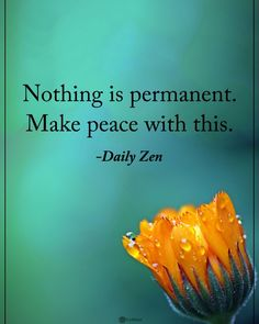 Nothing is permanent. make peace with this. daily zen saying Zen Quotes, Spiritual Quotes, Wisdom Quotes, Positive Quotes, Quotes To Live By, Life Quotes, Inspirational Quotes, Zen Sayings, Taoism Quotes