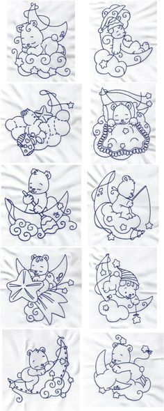 Bluework Bears Embroidery Machine Design Details
