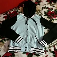 Varsity jacket size Small Good condition color mint/black /white. Forever 21 Jackets & Coats