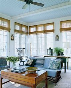 Bright & sunny, a screened in porch look