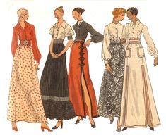 Vogue Sewing Patterns, Vintage Sewing Patterns, Paper Patterns, Maxi Skirt With Slit, Gathered Skirt, Dress Making Patterns, Skirt Patterns, Diy Vetement, Evening Outfits