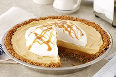 Butterscotch-Pecan Pudding Pie - find other stunning dessert recipes at dessertcentre.ca