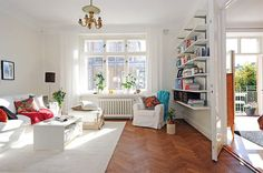 example of white furniture+walls on brown floor boards 30 Scandinavian Living Room Designs With a Mesmerizing Effect