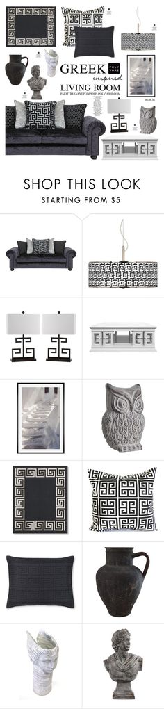 """08.08.16 / Greek Inspired Living Room"" by palmtreesandpompoms ❤ liked on Polyvore featuring interior, interiors, interior design, home, home decor, interior decorating, Giclee Glow, Safavieh, Jonathan Adler and Pottery Barn"