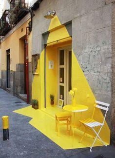 Somos Fos - a vibrant installation designed for a vegan restaurant in Madrid. (fos) restaurant in Madrid, geniale! Instalation Art, Ephemeral Art, Mellow Yellow, Yellow Art, Color Yellow, Yellow Sign, Public Art, Urban Art, Urban Street Art