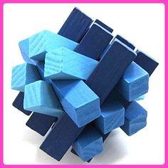 KINGOU Blue Wooden Fifteen Oblique Sticks Puzzle Brain Teaser Puzzles - Fun stuff and gift ideas (*Amazon Partner-Link)