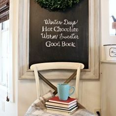 Winter Chalkboard Quote perfect for a quick decor change, write your favorite winter saying on your chalkboard using these easy directions. Mason Jar Christmas Decorations, Christmas Mason Jars, Gold Globe, Winter Quotes, Warm Sweaters, Winter Day, Decor Crafts, Home Decor, Hygge