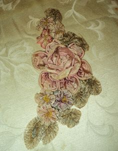 Amazing Original 1920s Large Ribbonwork Applique Milinery Silk Roses Flapper Era Antique