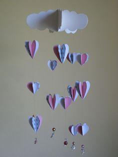 Handmade nursery mobile, baby girl mobile, 3d hearts mobile, crib mobile, cot mobile, girl's room decoration, nursery design