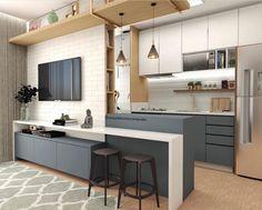41 Trending Popular Apartment Interior Design For Your Ideas - Home Design and Decor Home Decor Kitchen, Kitchen Living, Interior Design Kitchen, Home Kitchens, Decorating Kitchen, Interior Modern, Luxury Interior, Modern Apartment Design, Small Apartments