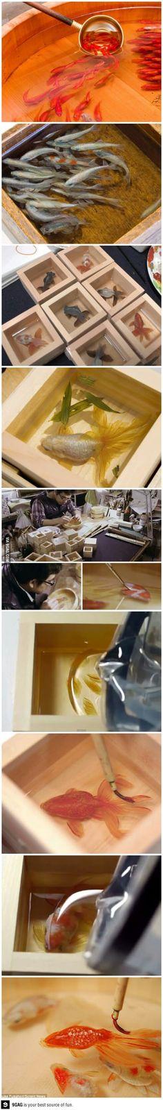 3D Goldfish Paintings on resin layers, by Japanese Artist Riusuke Fukahori.