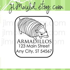 Armadillo Custom Rubber Stamp  Texas Return Address by JLMould, $19.95