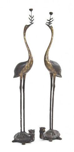 Chinese bronze cranes