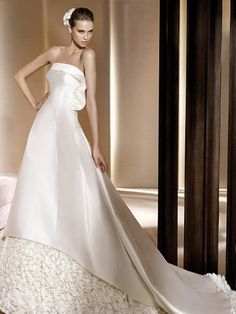 Princess Strapless Chapel Train Satin with Embroidery Wedding Dress